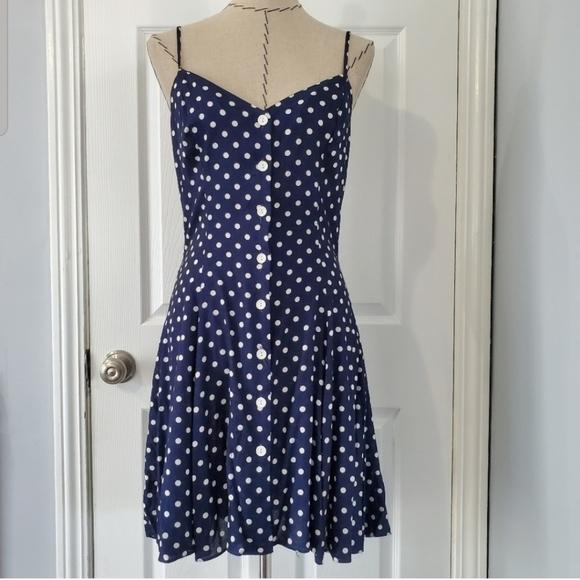 Vintage Dresses & Skirts - Vintage Navy Polka Dot Button Down Dress